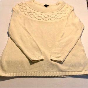 Talbots Large Petite cream crew sweater classic